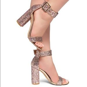 Gold Chunky Heel Sandal Open Toe with Buckle Strap
